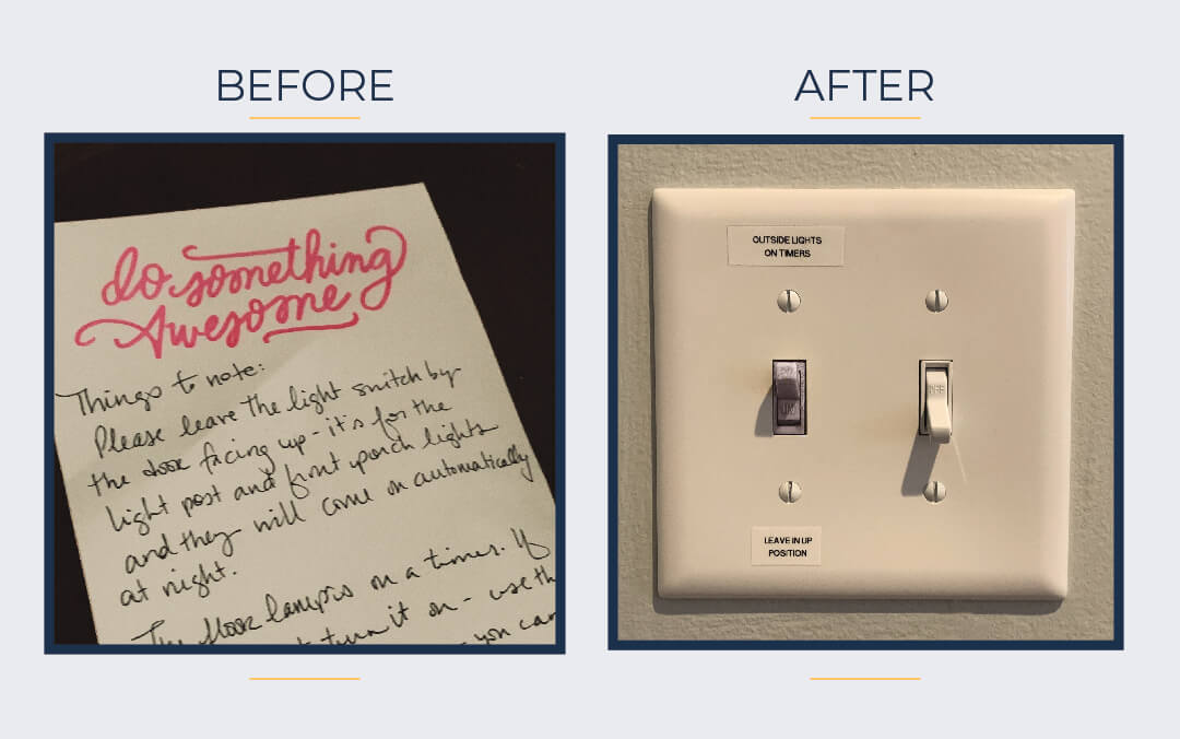 """Before Image of Handwritten note describing the light situation. After image of light switch labeled """"Outside Lights on Timer - Leave In up Position"""